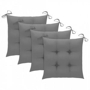 Perne de scaun, 4 buc., gri, 40 x 40 x 7 cm, textil
