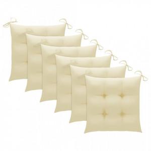 Perne de scaun, 6 buc., alb crem, 40 x 40 x 7 cm, textil