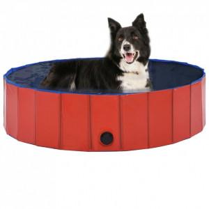 Piscină pentru câini pliabilă, roșu, 120 x 30 cm, PVC