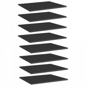 Plăci bibliotecă, 8 buc. negru extralucios 60 x 50 x 1,5 cm PAL