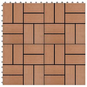 Plăci de pardoseală 11 buc, maro, 30 x 30 cm, WPC, 1 mp