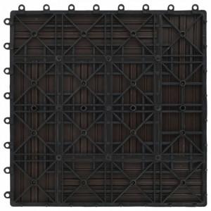 Plăci de pardoseală, 22 buc., maro închis, 30x30 cm, WPC, 2 mp