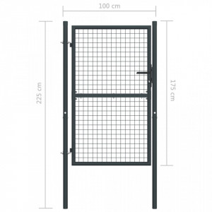 Poartă de gard din plasă, gri, 100 x 225 cm, oțel galvanizat