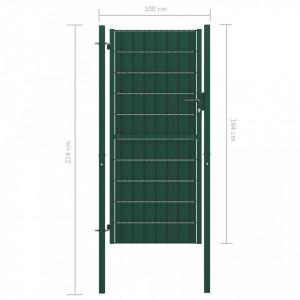 Poartă de gard, verde, 100 x 164 cm, oțel