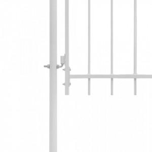 Poartă de grădină, alb, 1 x 2 m, oțel