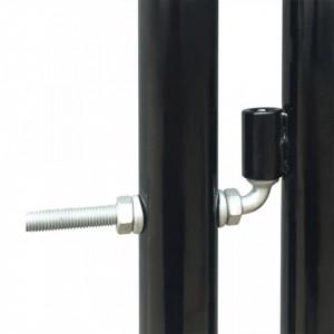 Poartă dublă neagră pentru gard 300 x 175 cm