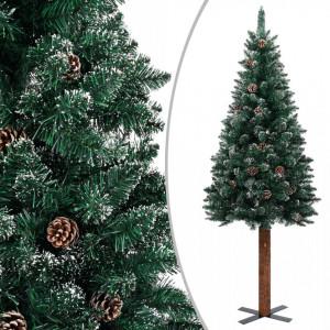 Pom Crăciun artificial subțire, lemn și zăpadă, verde, 210 cm