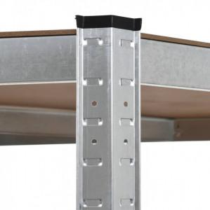 Raft de depozitare, argintiu, 75 x 75 x 180 cm, oțel și MDF