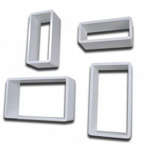 Rafturi cub de perete, 8 buc., alb