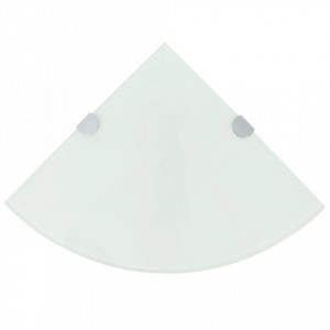 Rafturi de colț cu suporturi de crom, 2 buc., 35x35 cm, sticlă