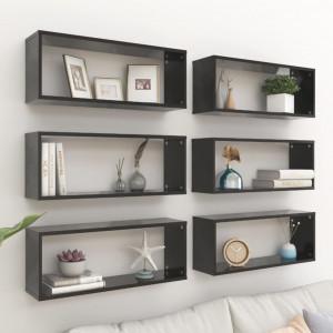 Rafturi de perete, 6 buc., negru, 60x15x23 cm, PAL