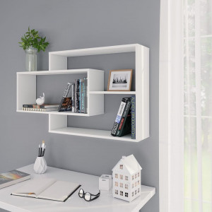Rafturi de perete, alb, 104 x 24 x 60 cm, PAL