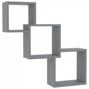 Rafturi de perete, cub, gri, 84,5 x 15 x 27 cm, PAL