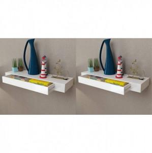 Rafturi de perete suspendate cu sertare, 2 buc., alb, 80 cm