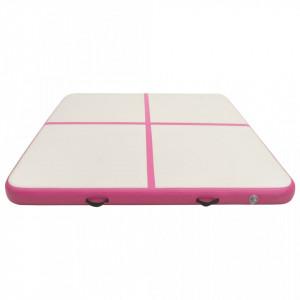 Saltea gimnastică gonflabilă cu pompă roz 200x200x10 cm PVC