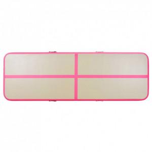 Saltea gimnastică gonflabilă cu pompă roz 400x100x10cm PVC