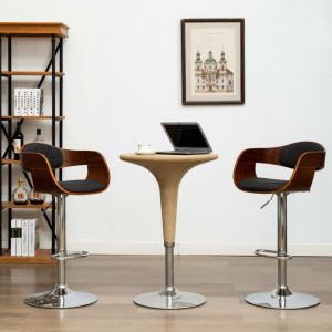 Scaun de bar, gri, lemn curbat și material textil