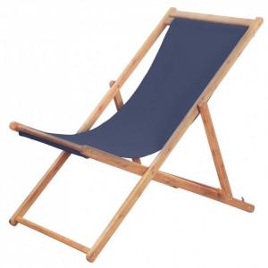 Scaun de plajă pliabil, albastru, textil și cadru din lemn