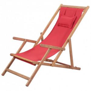 Scaun de plajă pliabil, roșu, textil și cadru din lemn