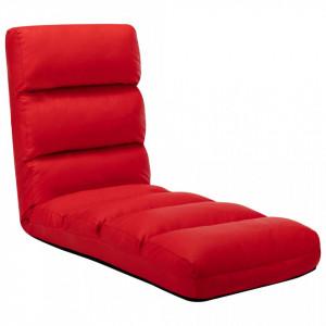 Scaun de podea pliabil, roșu, piele ecologică