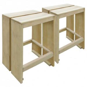 Scaune de bar de exterior, 2 buc, lemn de pin tratat, FSC