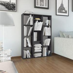 Separator cameră/Bibliotecă gri extralucios 100x24x140 cm PAL