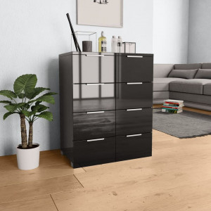 Servantă, negru extralucios, 60x35x76 cm, PAL
