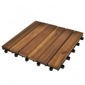 Set dale din lemn de salcâm cu model vertical 30 x 30 cm, 30 buc.