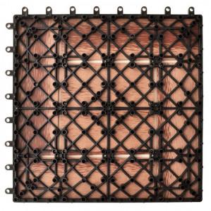 Set de 11 bucăți de plăci 30 x 30 cm din WPC 1 mp, maro
