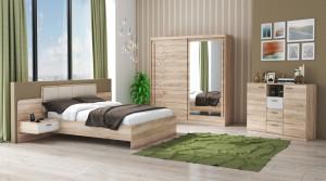 Set Dormitor Tokyo, Sonoma, Dulap 200 cm, Pat 160x200 cm, 2 noptiere, comoda