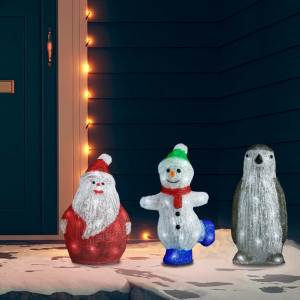 Set figurine de Crăciun cu LED, 3 piese, acril, int. & ext.