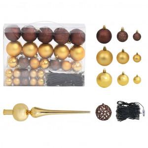 Set globuri Crăciun cu vârf & 150 LED-uri 61 buc. auriu&bronz
