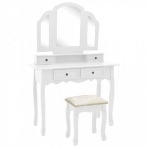 Set masă toaletă cu taburet alb 100x40x146 cm lemn paulownia