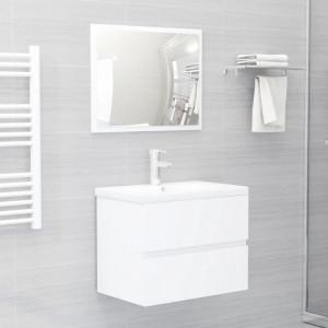 Set mobilier de baie, 2 piese, alb, PAL