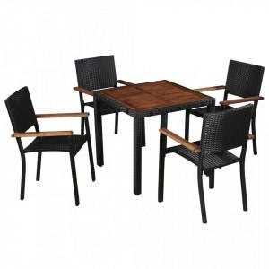 Set mobilier de exterior, 5 piese negru, poliratan, lemn acacia