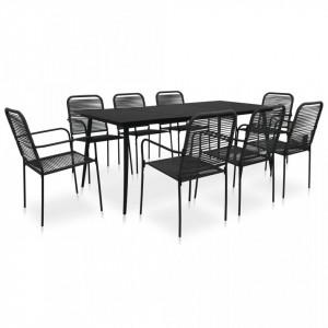 Set mobilier de exterior, 9 piese, negru, frânghie și oțel
