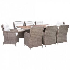 Set mobilier de exterior cu perne, 9 piese, maro, poliratan
