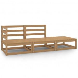 Set mobilier de grădină, 3 piese, maro miere, lemn masiv de pin