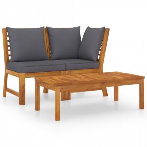 Set mobilier de grădină, 3 piese, perne gri închis, lemn acacia