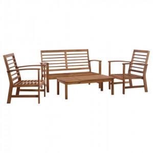 Set mobilier de grădină, 4 piese, lemn masiv de acacia