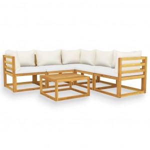 Set mobilier de grădină cu perne, 6 piese, lemn masiv de acacia