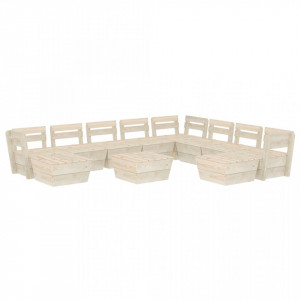 Set mobilier de grădină din paleți, 11 piese, lemn molid tratat