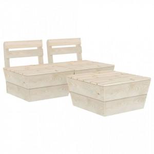 Set mobilier grădină din paleți, 3 piese, lemn de molid tratat