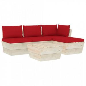 Set mobilier grădină din paleți, 5 piese, cu perne, lemn molid