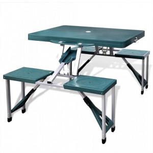 Set pliabil camping cu masă și 4 scaune din aluminiu ușor, verde