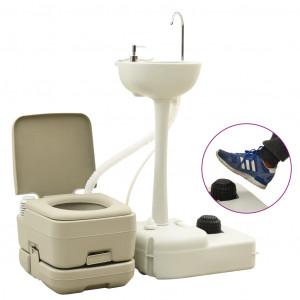 Set toaletă portabilă camping 10+10 L suport chiuvetă 20 L, gri