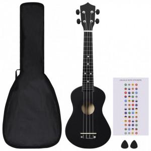 """Set ukulele Soprano pentru copii, cu husă, negru, 23"""""""