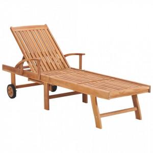 Șezlong, lemn masiv de tec