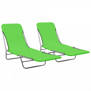 Șezlonguri pliabile, 2 buc., verde, oțel & material textil