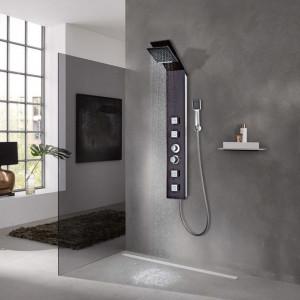 Sistem cu panel de duș, sticlă, maro